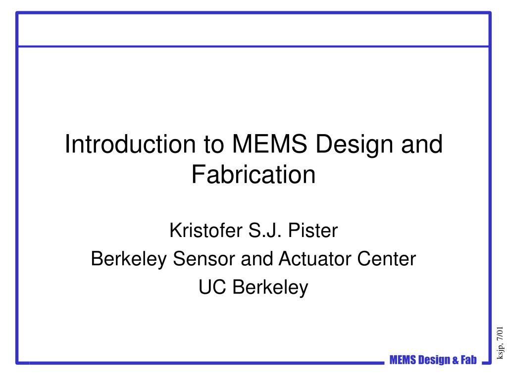 introduction to mems design and fabrication l.