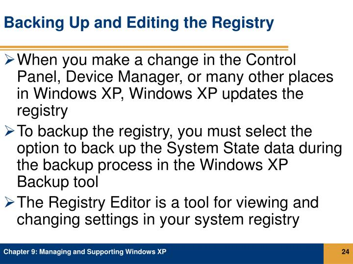Backing Up and Editing the Registry