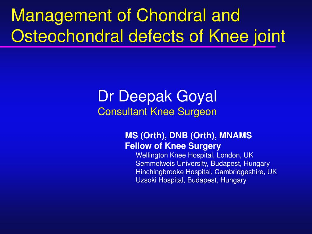management of chondral and osteochondral defects of knee joint l.