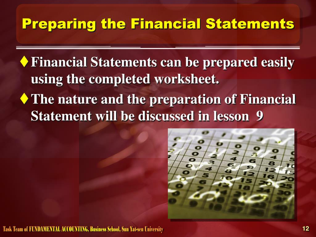 Preparing the Financial Statements