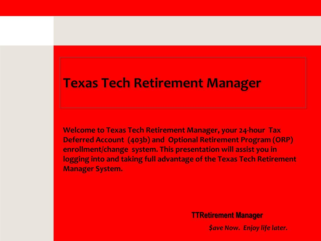 texas tech retirement manager l.