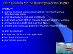 data sources for the reanalysis of the 1920 s