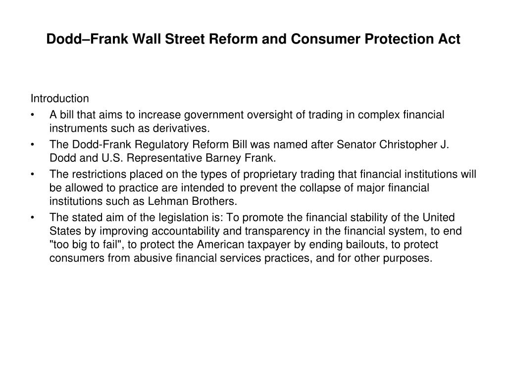 dodd frank wall street reform and consumer protection act l.