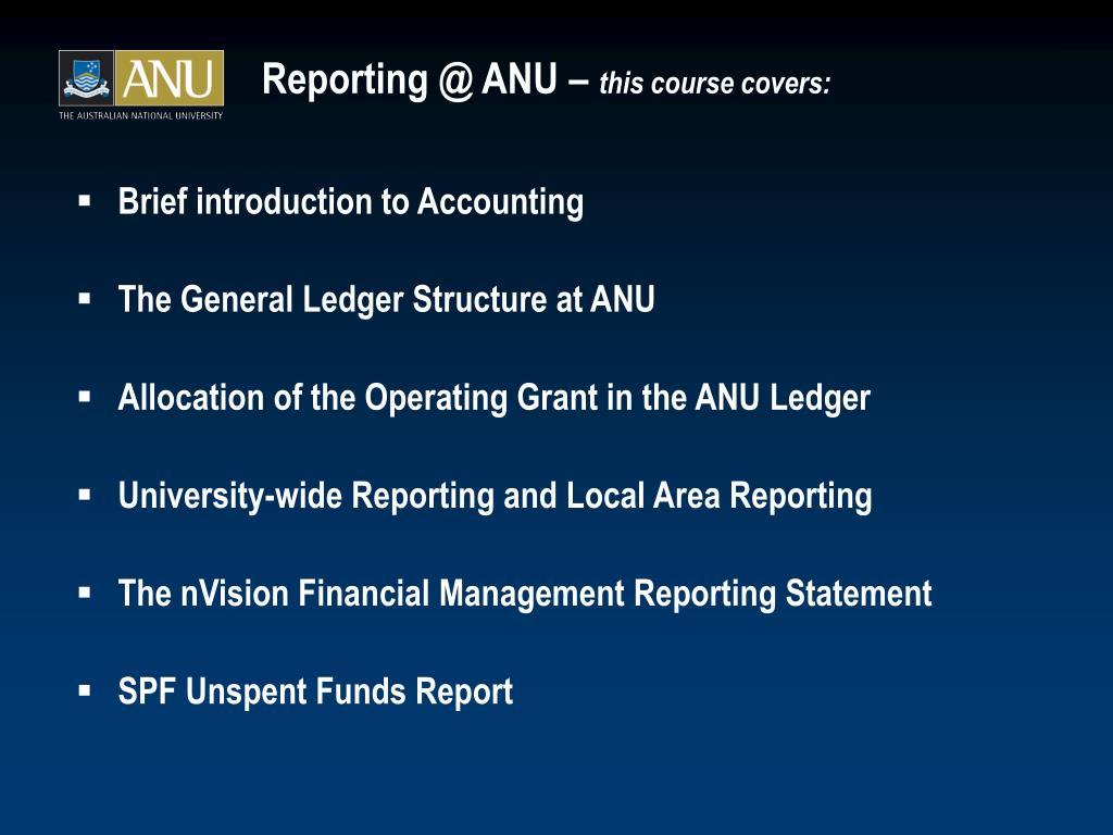 Reporting @ ANU –