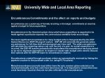 university wide and local area reporting26