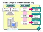built in groups on domain controllers only