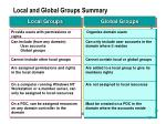 local and global groups summary