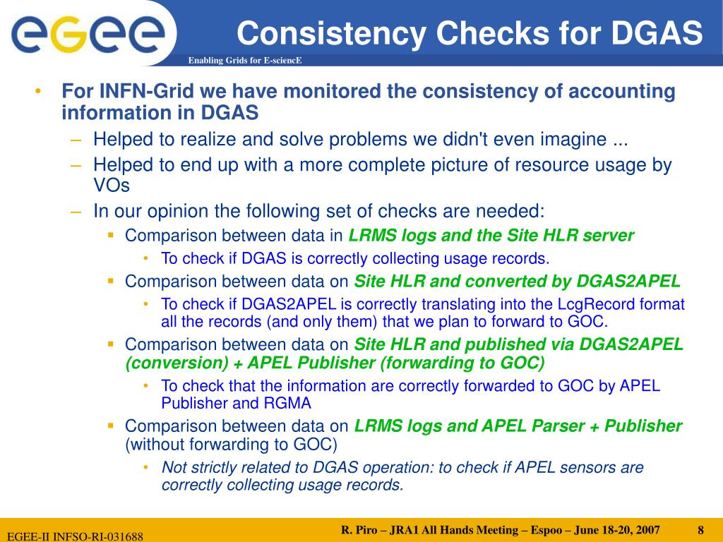 Consistency Checks for DGAS
