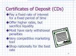certificates of deposit cds