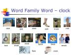 word family word clock