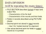data division will be repeating this many times