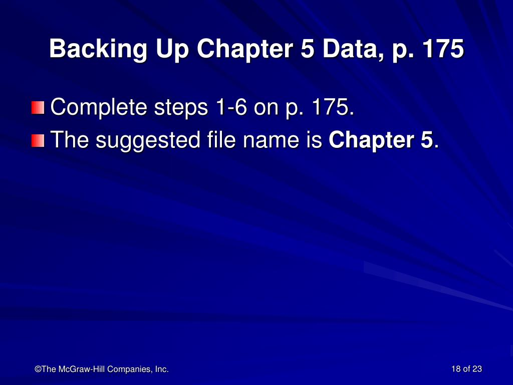 Backing Up Chapter 5 Data, p. 175