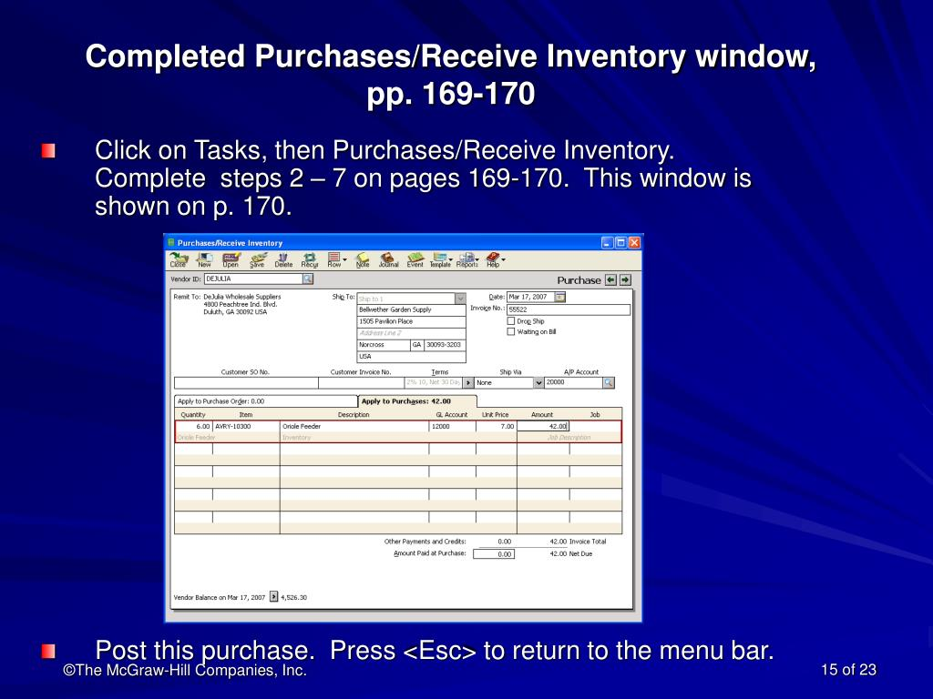 Completed Purchases/Receive Inventory window,             pp. 169-170