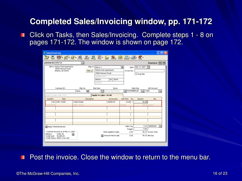 Completed Sales/Invoicing window, pp. 171-172