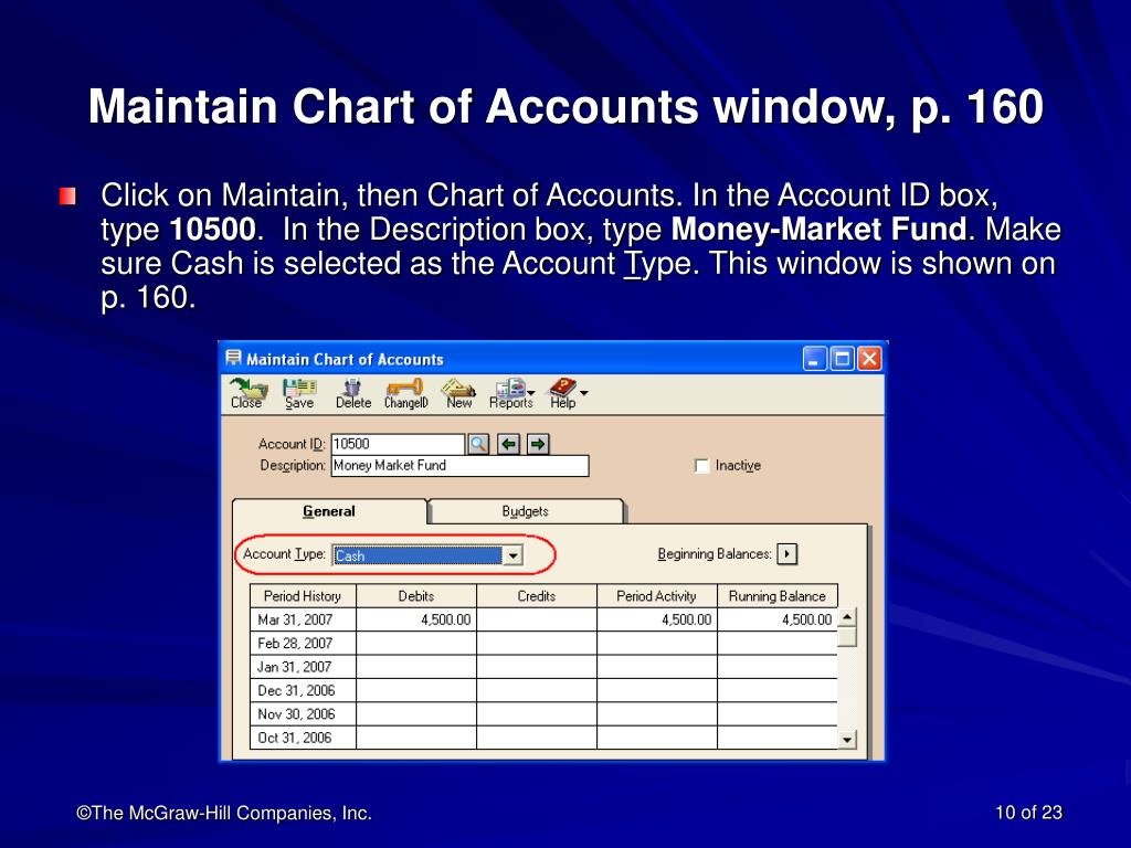 Maintain Chart of Accounts window, p. 160