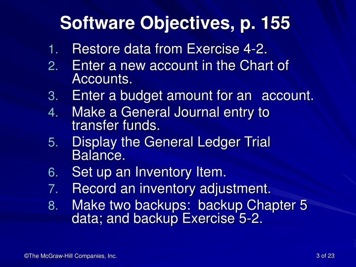 Software objectives p 155