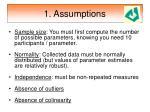 1 assumptions