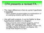 cfa presents a revised fa