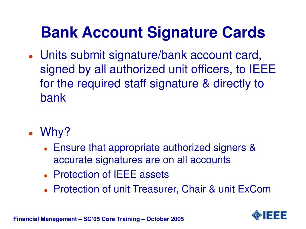 Bank Account Signature Cards