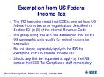 exemption from us federal income tax