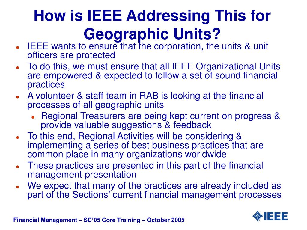 How is IEEE Addressing This for Geographic Units?