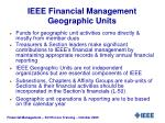 ieee financial management geographic units