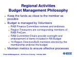 regional activities budget management philosophy