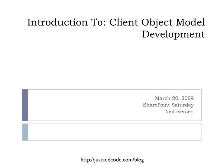 introduction to client object model development n.
