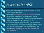 accounting for npos