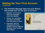 setting up your first account continued11