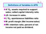 definitions of variables in afn