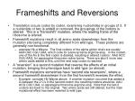 frameshifts and reversions