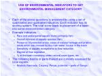 use of environmental indicators to set environmental management category10
