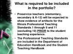 what is required to be included in the portfolio