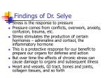 findings of dr selye