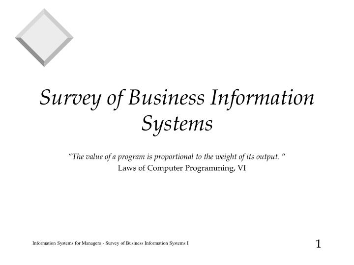 survey of business information systems n.