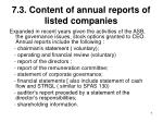7 3 content of annual reports of listed companies