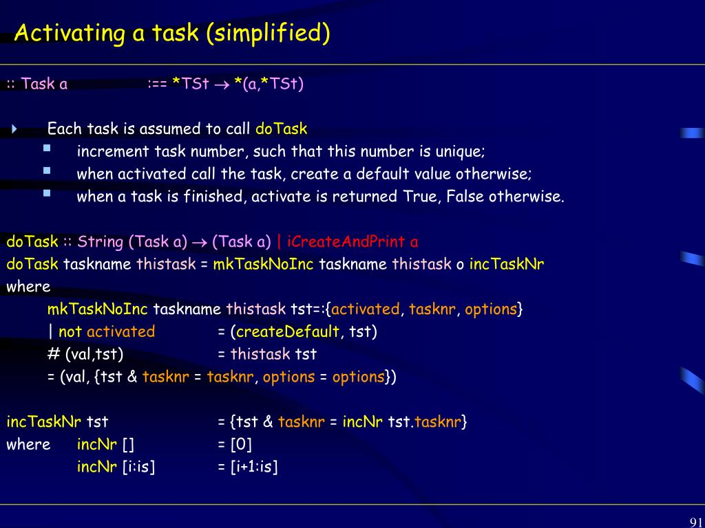 Activating a task (simplified)