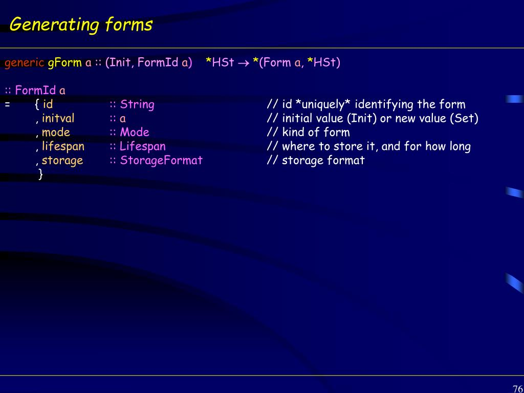 Generating forms