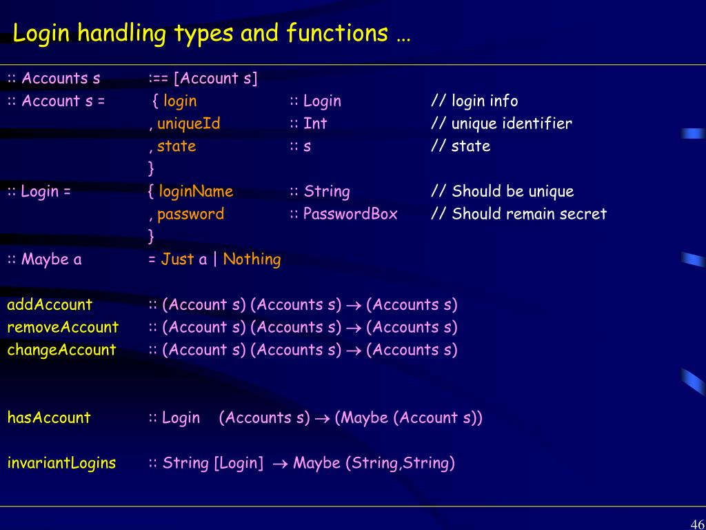 Login handling types and functions …
