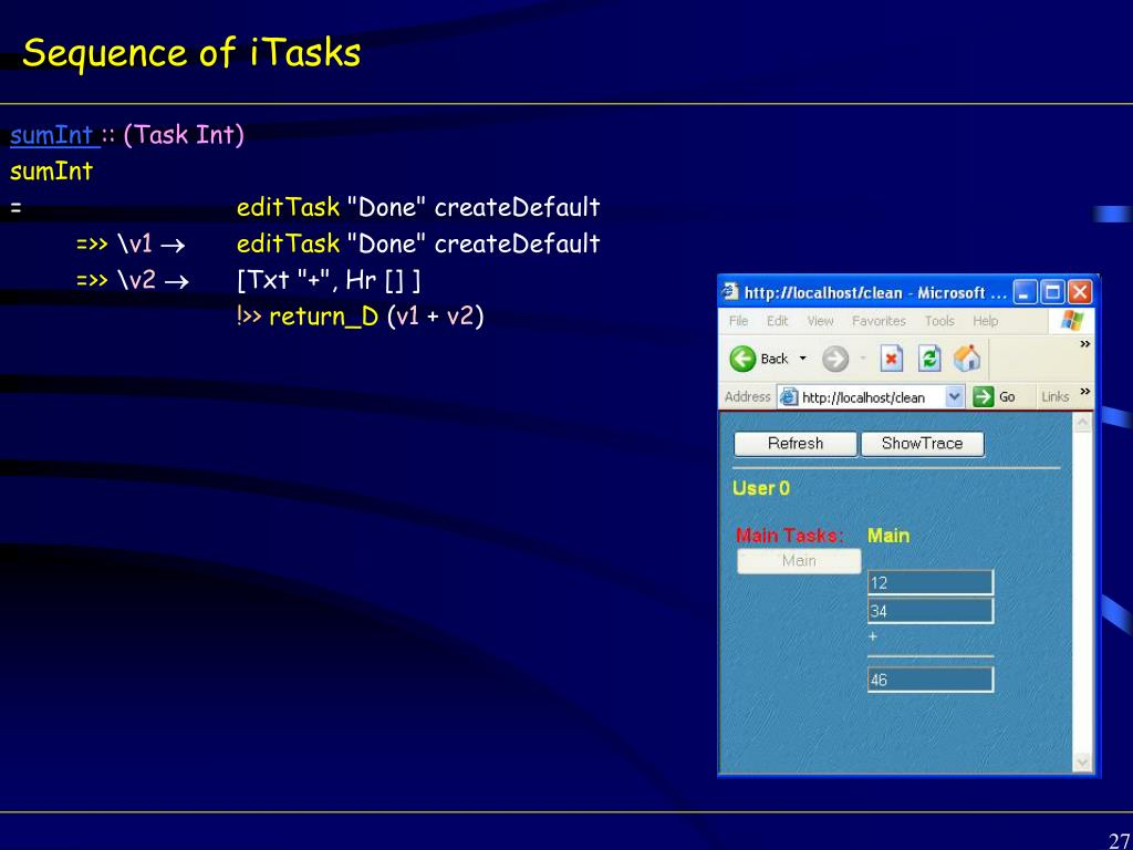 Sequence of iTasks