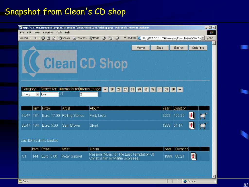 Snapshot from Clean's CD shop