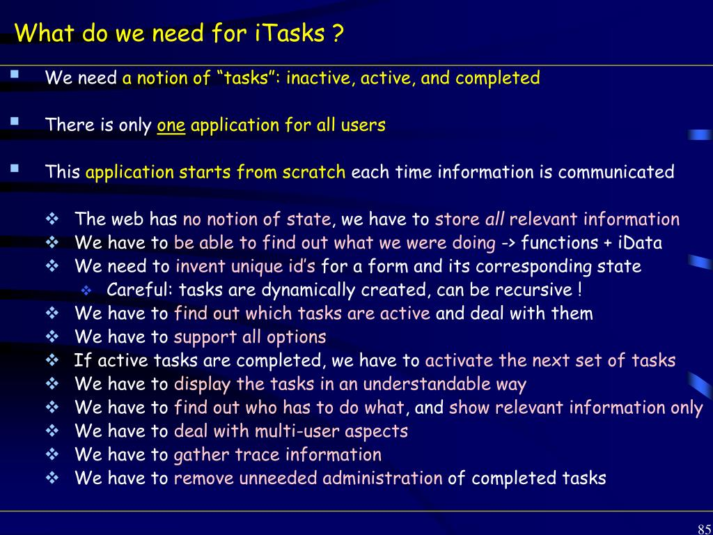 What do we need for iTasks ?
