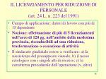 il licenziamento per riduzione di personale art 24 l n 223 del 1991