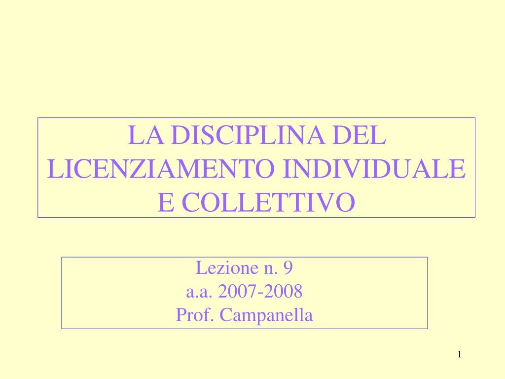 la disciplina del licenziamento individuale e collettivo l.