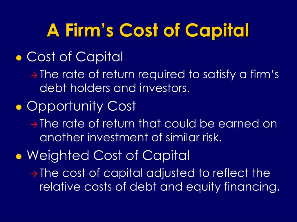A Firm's Cost of Capital