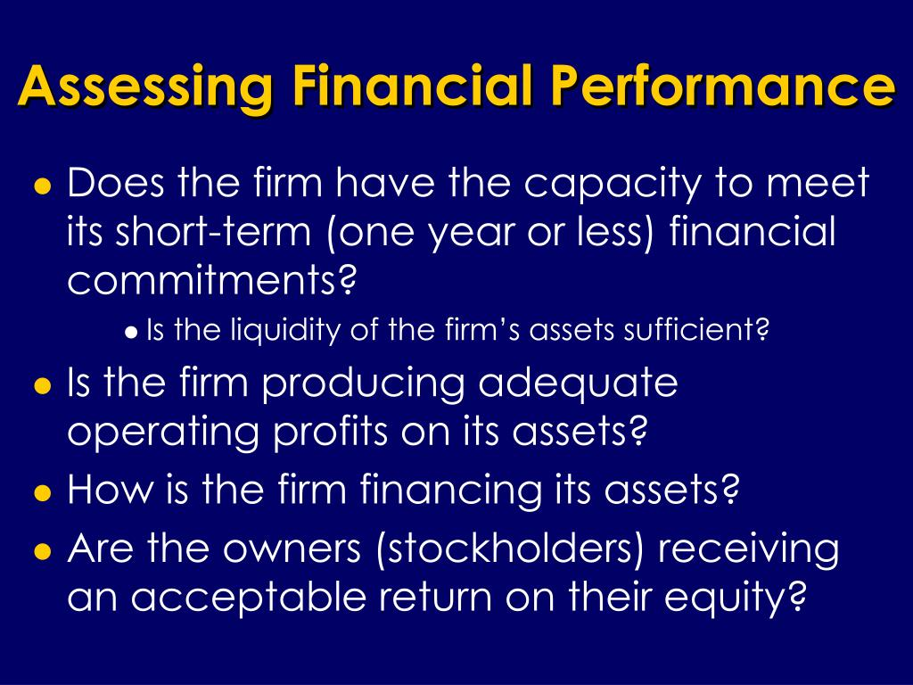 Assessing Financial Performance