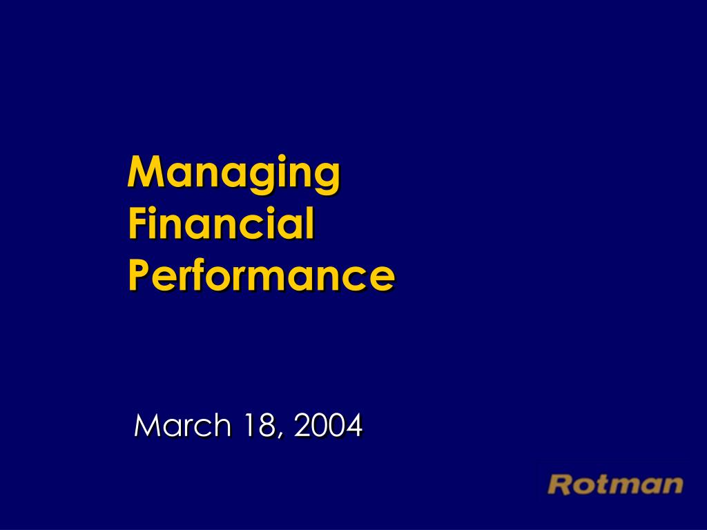 managing financial performance l.