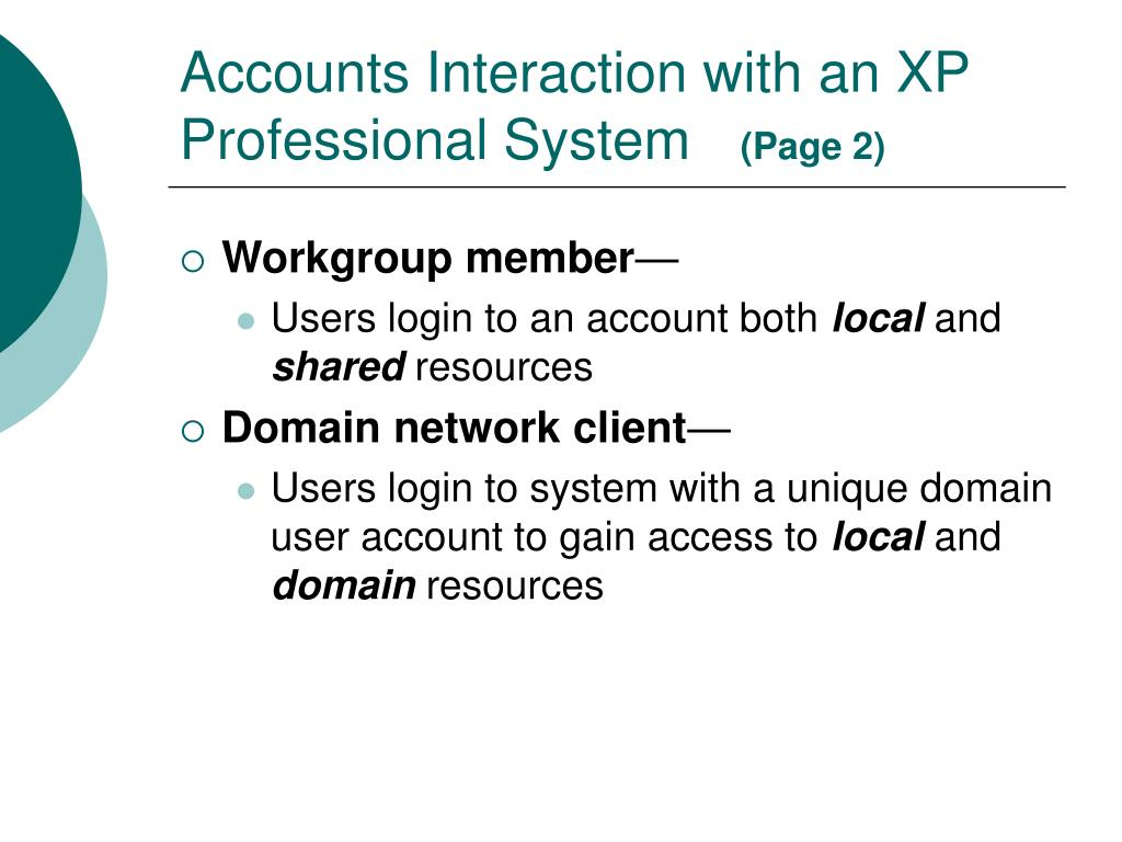 Accounts Interaction with an XP Professional System
