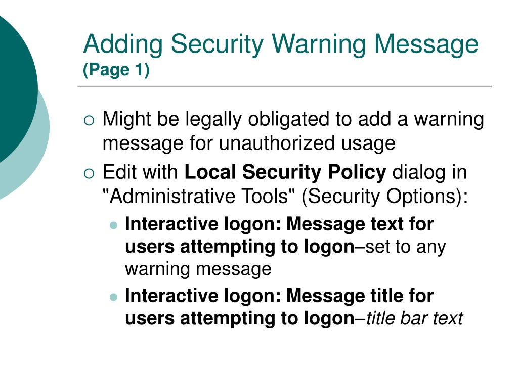 Adding Security Warning Message